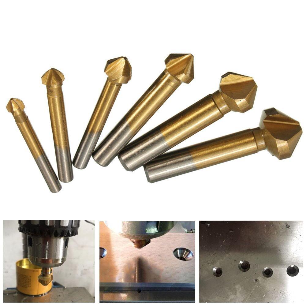 Tonsiki 6 PCS 90 Degree 3 Flute HSS Countersink Cutter Titanium Nitride Coated Chamfer Cutter End Mill Drill Bits Cutting Tool Set
