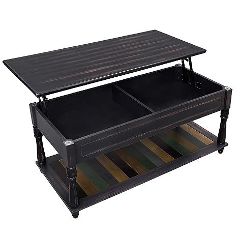 Amazon.com: VASAGLE Mesa de centro con compartimento de ...