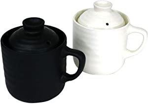 Donabe Microwave Rice Cooker Mug, 500ml, Set of 2, White and Black