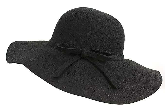 3b36208dfb868 Fashion-Bag Wool Felt Big Brim Hat (Black) at Amazon Women s ...