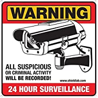 "Security Surveillance Camera Sign. Prevent Theft, Vandalism and Loitering by Displaying Video Camera Surveillance Signs. ""Warning All Suspicious or Criminal Activity Will be Recorded!"""