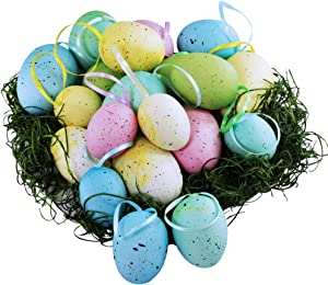 18 Pcs 3 Sizes 6 Colors Hanging Foam Easter Eggs Speckled Eggs Ornaments Decorative Easter Eggs in Transparent Packing Box with Faux Grass for Easter Tree Decorations Basket Filler