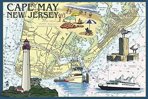 Cape May, New Jersey - Nautical Chart (16x24 Giclee Gallery Print, Wall Decor Travel Poster)