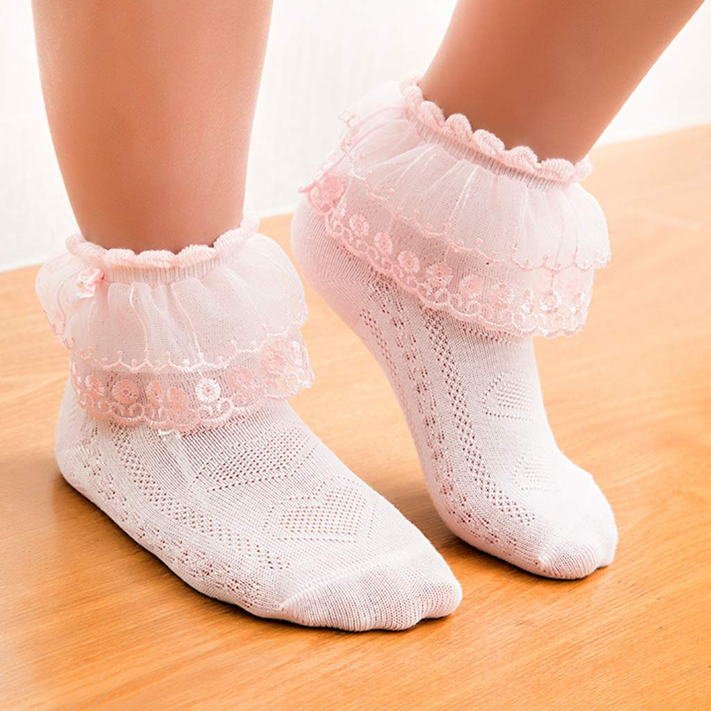 4-6 years old Nikunty Girls socks Cotton Thin socks Lace breathable Non-slip 2-4 years old