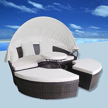 Gartensofa Sonnenliege 11 Tlg Rund Poly Rattan Braun 2 In 1 Lounge