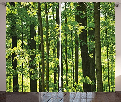 Ambesonne Nature Curtains, Refreshing Young Forest with Canadian Maple Trees Foliage Environment Image, Living Room Bedroom Window Drapes 2 Panel Set, 108 X 63 , Green Brown
