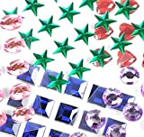 craft gems blue - Mini Self-Adhesive Back Jewels Multi-Color Assorted Gems Rhinestone, Hearts, Diamonds, Stars Stickers for Arts & Crafts Projects, Decorations, Invitations (500 Assorted Pieces)