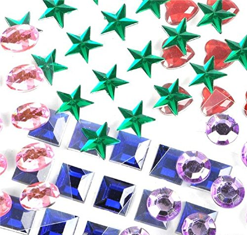 Mini Self-Adhesive Back Jewels Multi-Color Assorted Gems Rhinestone, Hearts, Diamonds, Stars Stickers for Arts & Crafts Projects, Decorations, Invitations (500 Assorted Pieces) (Fun Gems Sticker)