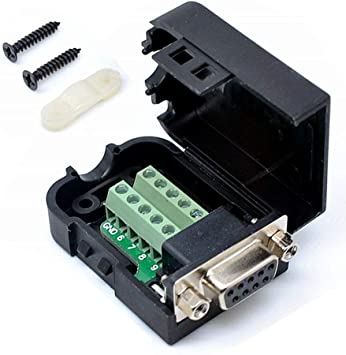 DB9 Female D-Sub 9 Pin Plug Breakout Terminals Solderless Nut Type Connector Ve