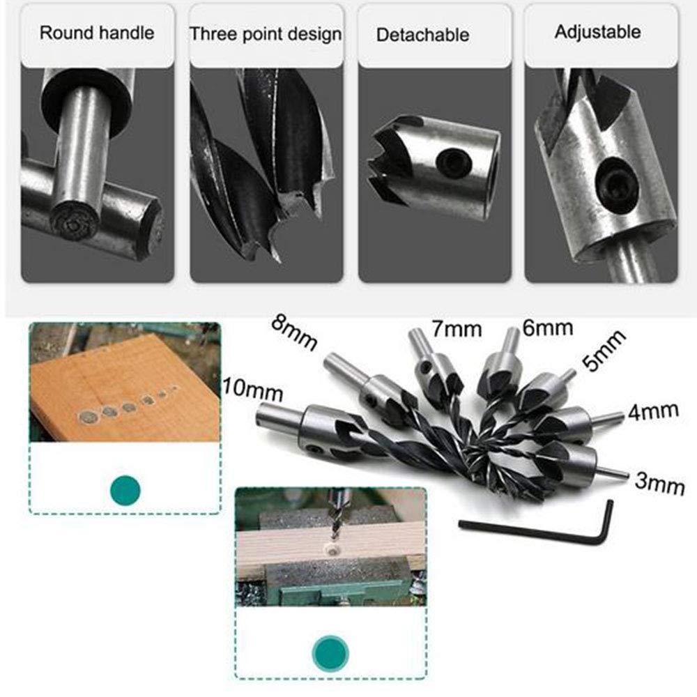 MEIGONGJU 8Pcs Wood Plug Cutter,6Pcs 1//4 Inch Hex 5 Flute 90 Degree Countersink Drill Bits,7Pcs Three Pointed Countersink Drill Bit