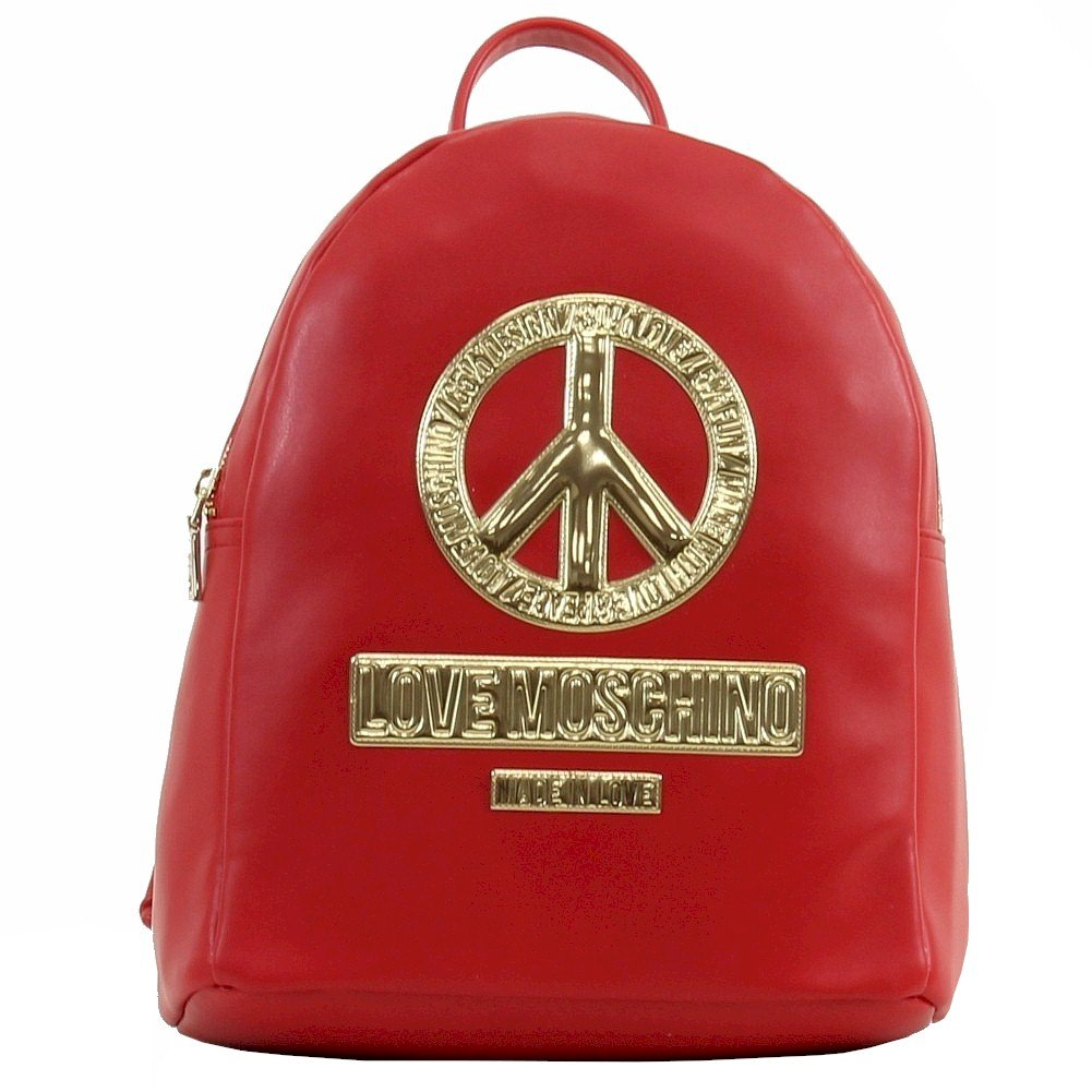 Love Moschino Women's Peace Red Leather Book Bag Backpack