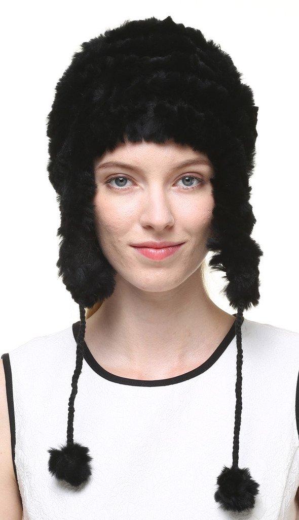 vogueearth Women'Real Knitted Rabbit Fur Winter Warmer Hat Black