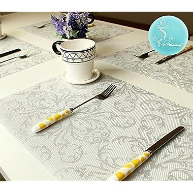Rimobul Deluxe Flower Pattern Waterproof Placemat , Set of 4 (Silver Flower)