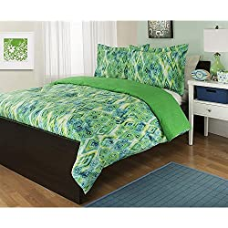 UNK 2pc Twin Lime Green Comforter Set, Pretty Bedding, Cool Blues, Tropicana Abstract Diamond Design Allover, Vibrant Colors, Aqua Teal Green