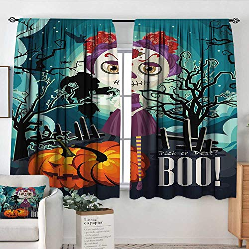 Elliot Dorothy Pattern Curtains Halloween,Cartoon Girl with Sugar Skull Makeup Retro Seasonal Artwork Swirled Trees Boo,Multicolor,Rod Pocket Curtain Panels for Bedroom & Kitchen 42