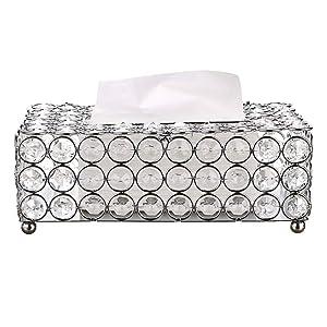 Sumnacon Rectangular Crystal Tissue Box Cover, Decorative Toliet Paper Box, Crystal Napkin Holder, Facial Tissue Holder for Bathroom/Dresser/Night Stand/Desk/Table, Silver