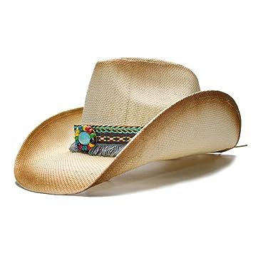 Hat- Moda Mujer Paja Sombreros de Vaquero con Banda de Cuero Punk para  señora papá 6740e268726