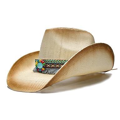 JiuRui Gorras Sombreros Sombrero de vaquero de paja con banda de cuero punk  para Lady Dad b9cbbaa3112