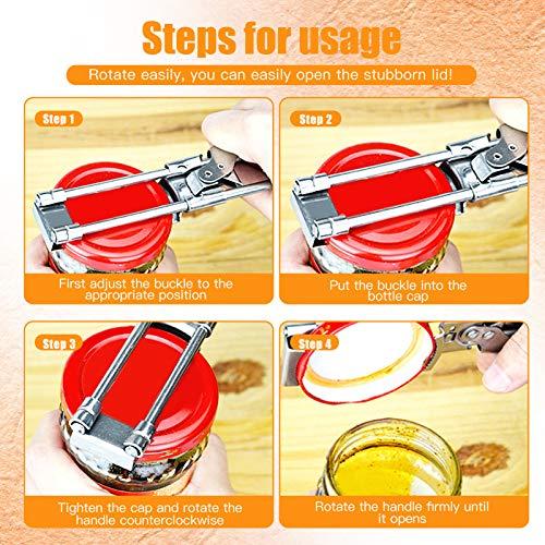 Can Opener Handheld,Stainless Steel Kitchen Breakfast Cooking Lid Remover,Adjustable Manual Jam Jar Bottle Can Opener for Seniors Weak Hands