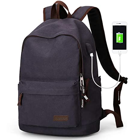 fed59218a5b Amazon.com  Muzee Canvas Backpack with USB Charging Port for Men ...