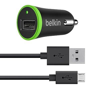 Belkin F8M887bt04-BLK - Cargador para Coche con Cable Micro-USB, 2.4 A, 1.2 m, Color Negro