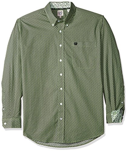 (Cinch Men's Classic Fit Long Sleeve Button One Open Pocket Print Shirt, Lime Diamond, S)
