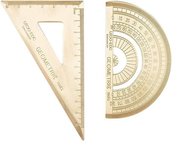 Lat/ón y graf/ómetro Escuadra 2pcs Matem/áticas Regla Escuela Hogar del estudiante de la vendimia graf/ómetro