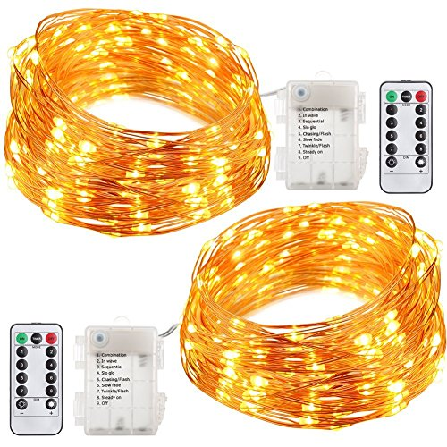 AngleLife 2 Set Fairy String Lights Battery Operated Waterproof 8 Modes 50 LED String Lights 16.4FT Copper Wire Firefly Lights Remote Control (Warm White) by AngleLife