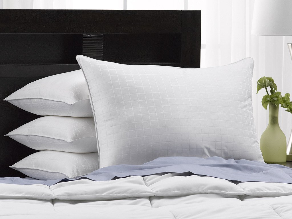 Exquisite Hotel Soft Luxury Plush Down-Alternative Hotel Luxe Pillows - 4-Pack, King Size, Gel-Fiber Filled Pillows - Hypoallergenic, 100% Cotton Shell With Windowpane Pattern - SOFT Density, Ideal For Stomach Sleepers