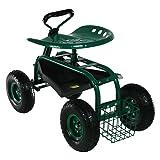 Sunnydaze Garden Cart Rolling Scooter with