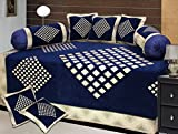 Ab Home Decor Diamond Design Chenille Fabric Blue Diwan set,Set of 8