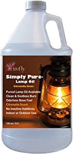 Firefly Citronella Paraffin Lamp Oil - 1 Gallon - Odorless Base & Smokeless - Ultra Clean Burning Paraffin Oil with Citronella Oil