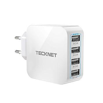 [ Versión Nuevo ] TECKNET Enchufe del Cargador USB Mobile Charger 4 Puertos, Adaptador para Viajes, Enchufes de Cargador de Pared Adaptador de Viaje, ...