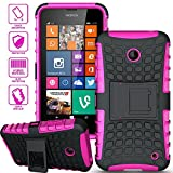 ElBolt 3 in 1 Bundle Nokia Lumia 635 / Nokia Lumia 630 Armor Grenade Stand Hard Gel Case - Hot Pink with Free Ultra-Sensitive Stylus Pen and Premium Screen Protector by BeautyCentral TM