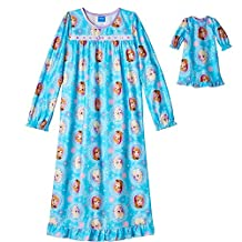 "Girl's Nightgown Matching 18"" Doll Gown Frozen Anna Elsa 6, 8, 10"