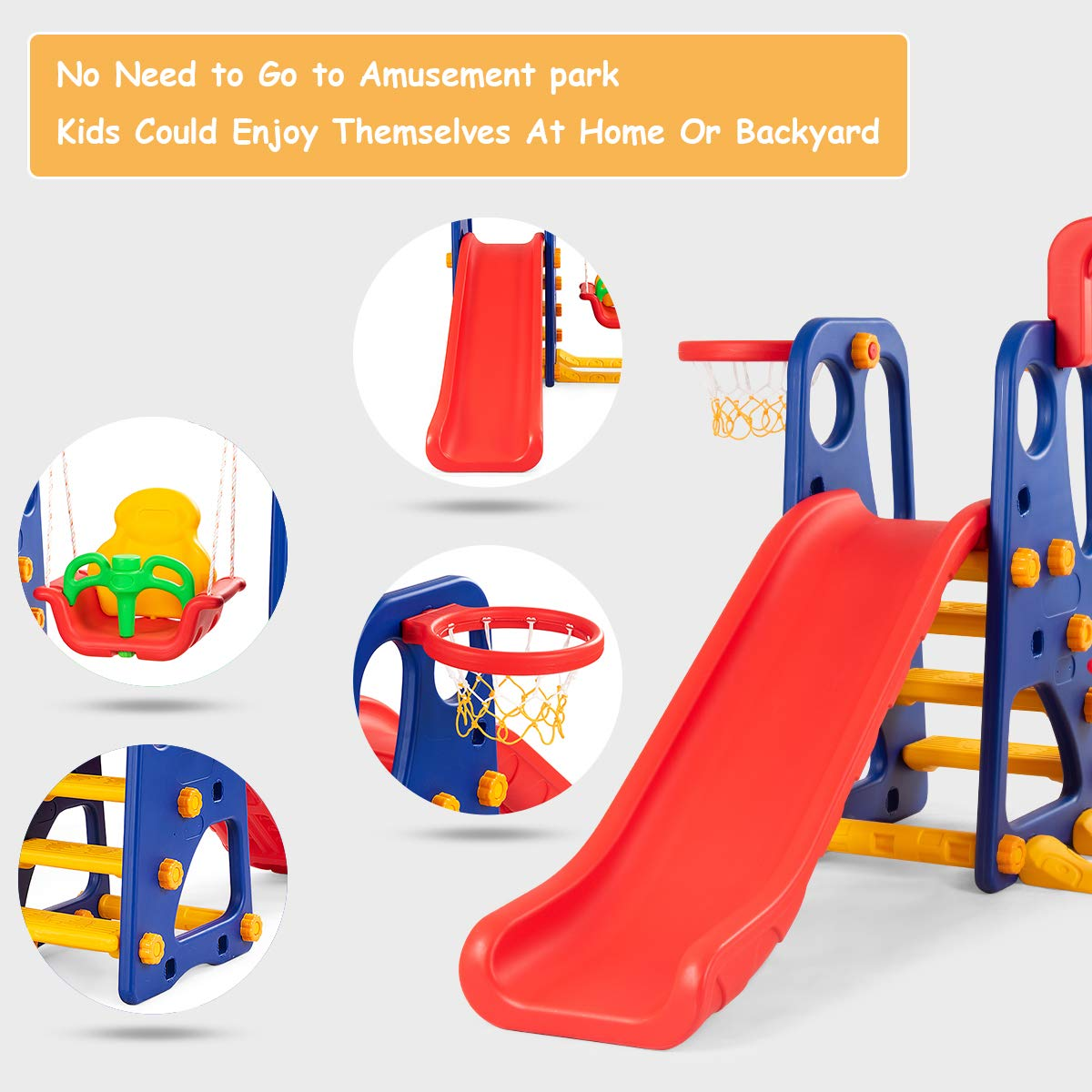 Costzon Toddler Climber and Swing Set, Junior Basketball Hoop Playset for Both Indoors & Backyard (3-in-1 Slide & Swing Set) by Costzon (Image #6)