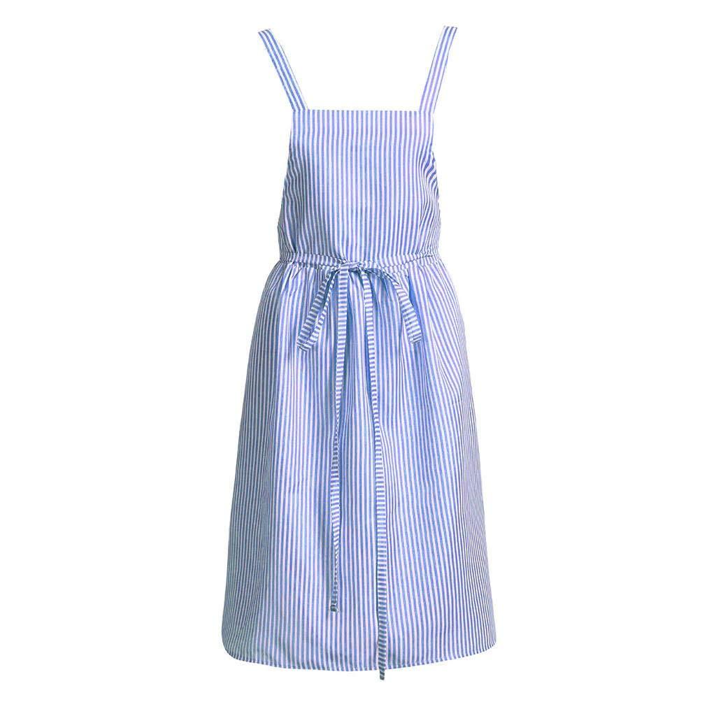6f07c4ed63 KASAAS Dresses for Women Linen Stripe Sleeveless Home Cooking Florist Cute  Bib Apron Pinafore Back Tie Dress at Amazon Women s Clothing store