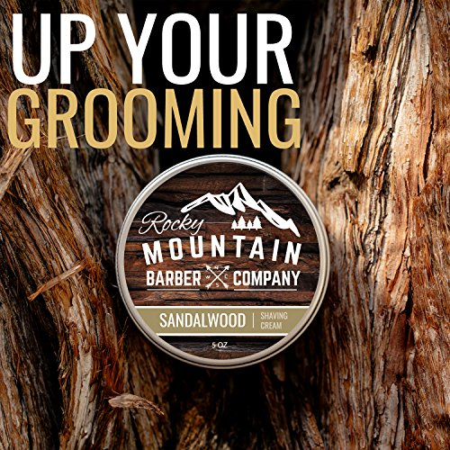 Shaving Cream for Men – With Natural Sandalwood Essential Oil – 5 oz Hydrating, Anti-inflammatory Rich & Thick Lather for Sensitive Skin & All Skin Types by Rocky Mountain Barber Company – 5 Ounce by Rocky Mountain Barber Company (Image #7)