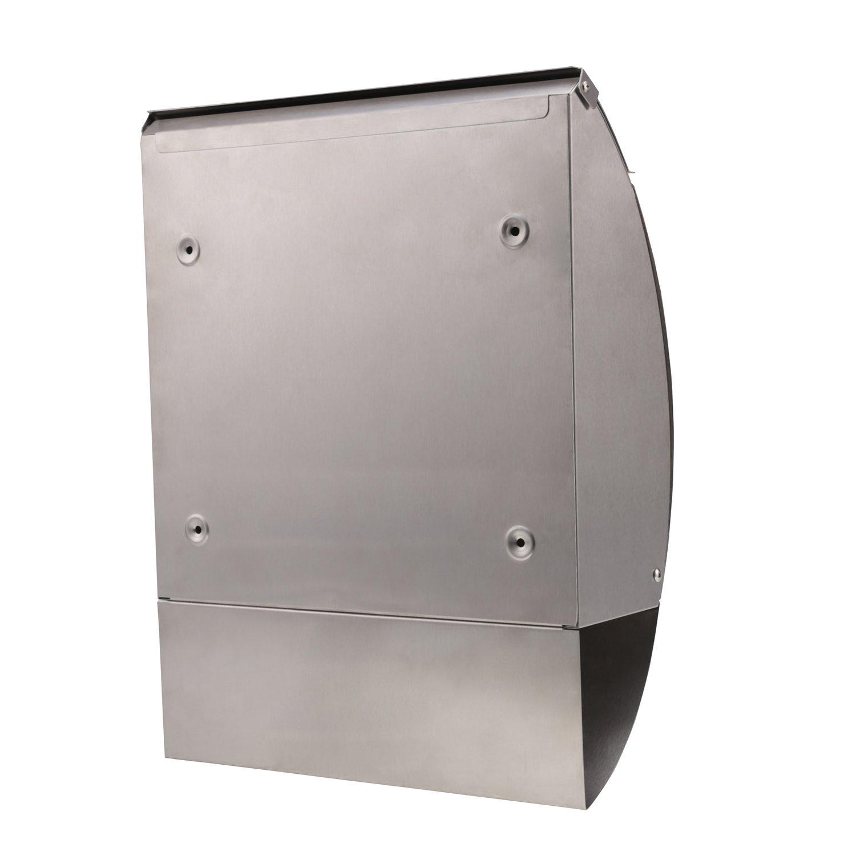 Silber 1 Briefkasten Edelstahl Rostfrei Postkasten Wandbriefkasten aus Edelstahl mit Zeitungsfach A4 Einwurf-Format Abschlie/ßbar mit 2 Schl/üssel Silber