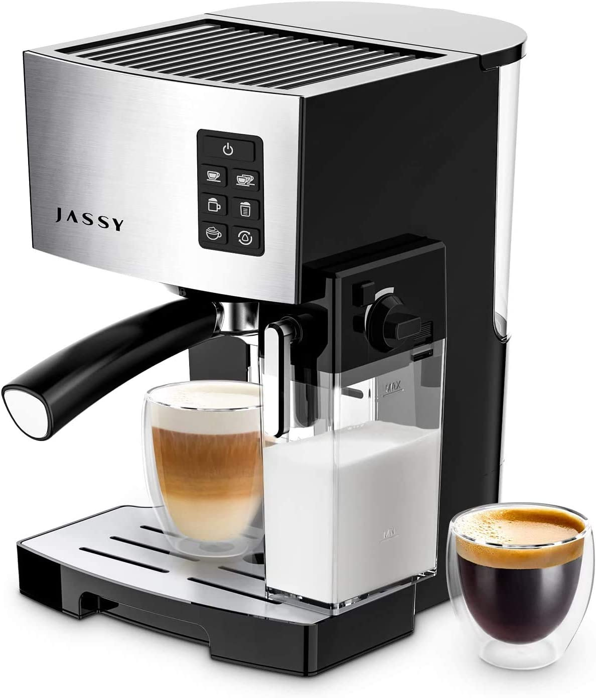 Espresso Coffee Machine 19 Bar Cappuccino Maker for Home Barista Brewing,High Pressure Pump & Powerful Steamer,Adjustable Cup Shot Function,1250W