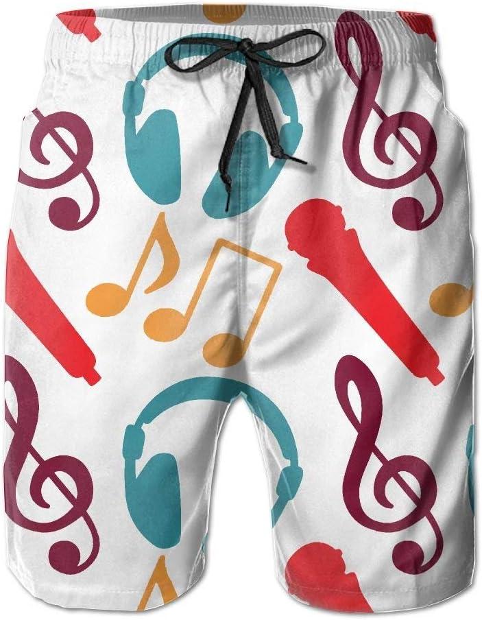 Music Notes Microphone Headphones Mens Beachwear Beach Swim Trunks Board Shorts