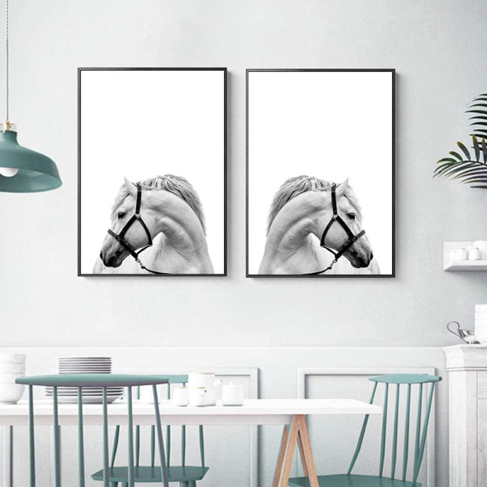 zszy Cuadros de Cabeza de Caballo de Arte de Pared Blanco y Negro para Sala de Estar Pintura de Lienzo Animal Carteles de Caballo Impresiones decoración-50x70cmx2 Piezas sin Marco