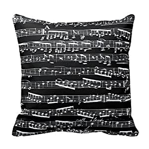 Black And White Music Notes Throw Pillow Cover For Living Room, Sofa, Etc