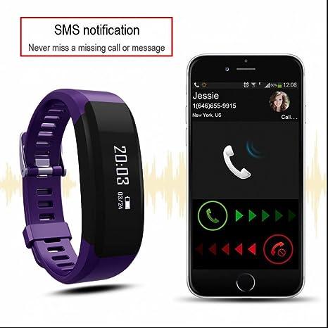 Smart Pulsera Pulsera de Tensiómetro Pulsómetro De Pulsera Con Bluetooth Para Android y iOS: Amazon.es: Electrónica