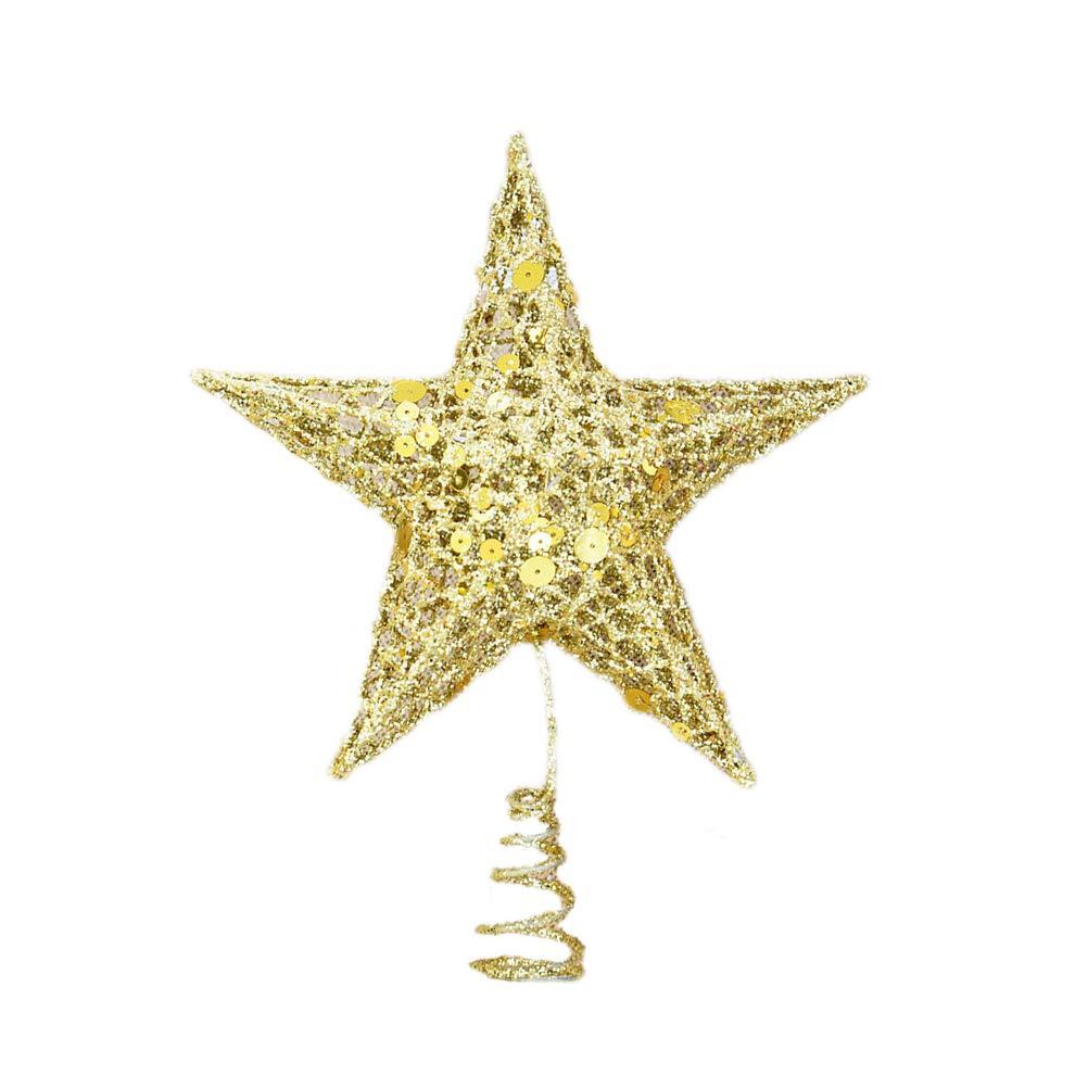 Amosfun Arbre de noël Topper étoile Arbre Topper doré Paillettes étoiles Festival décoration de la cime des Arbres de Noël Ornements pour la fête à la Maison (25cm)