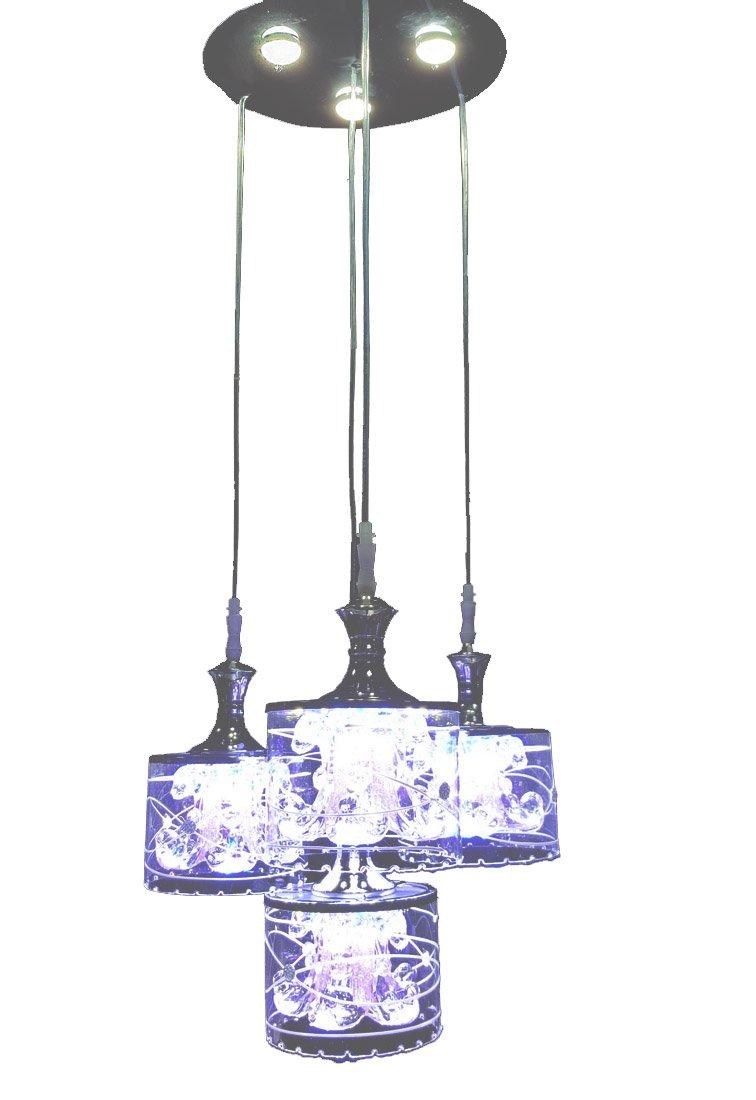 New Legend Lighting Modern LED Chandelier Chrome Finish Glass Shade 4-Light Hanging Pendant Ceiling Lamp Fixture, Bulbs Included