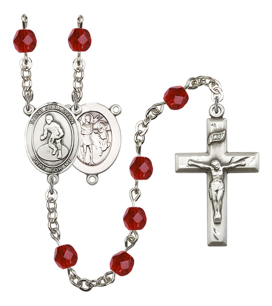 July Birth Month Prayer Bead Rosary with Saint Sebastian Wrestling Centerpiece, 19 Inch
