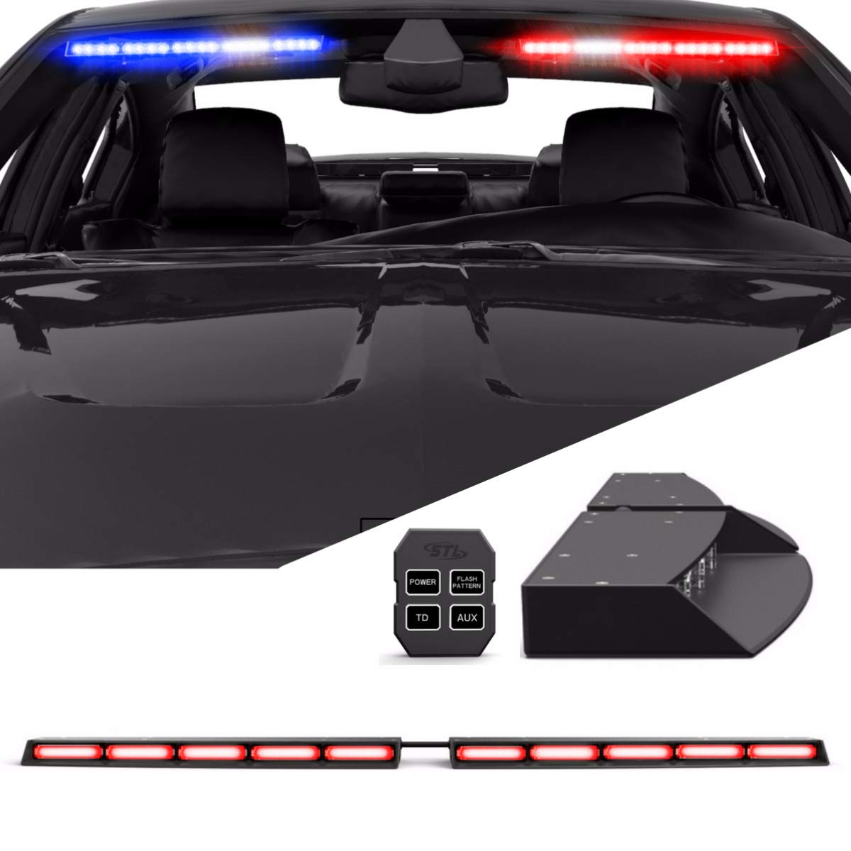 Raptor TIR Interior Upper Windshield Split LED Visor Light Bar for Emergency Vehicle Warning Visor Lights - Red/Red