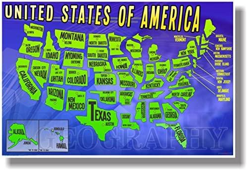 United States Map of States - NEW Geography Poster