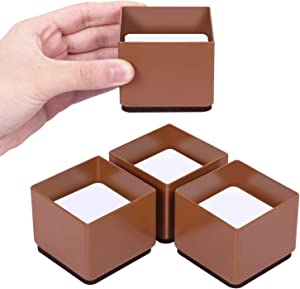 AIRUJIA Furniture Risers,4Pack Steel Bed Risers,Lifts Height 1.2inches,Non-Slip Bottom Felt Pad,Heavy-Duty Table,Sofa Riser Protect Floor (Square,Brown)